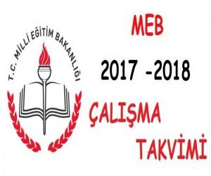 2017 – 2018 Meb  Çalışma (iş günü) Takvimi
