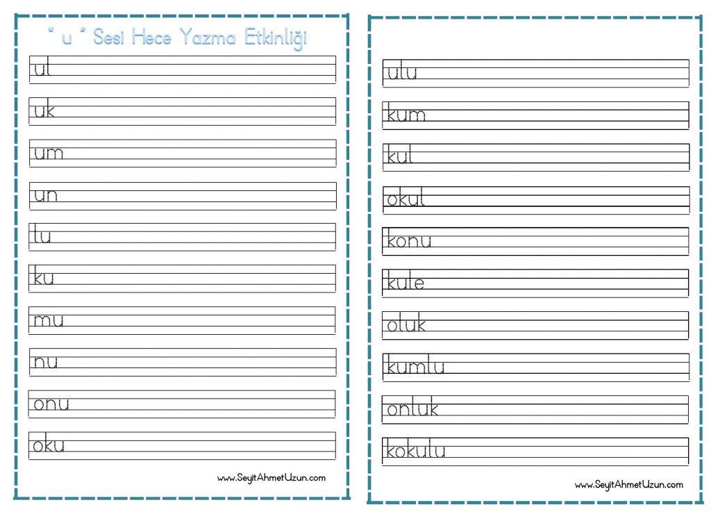 U Sesi Hece Yazma Etkinligi Okul Etkinlikleri Egitime Yeni