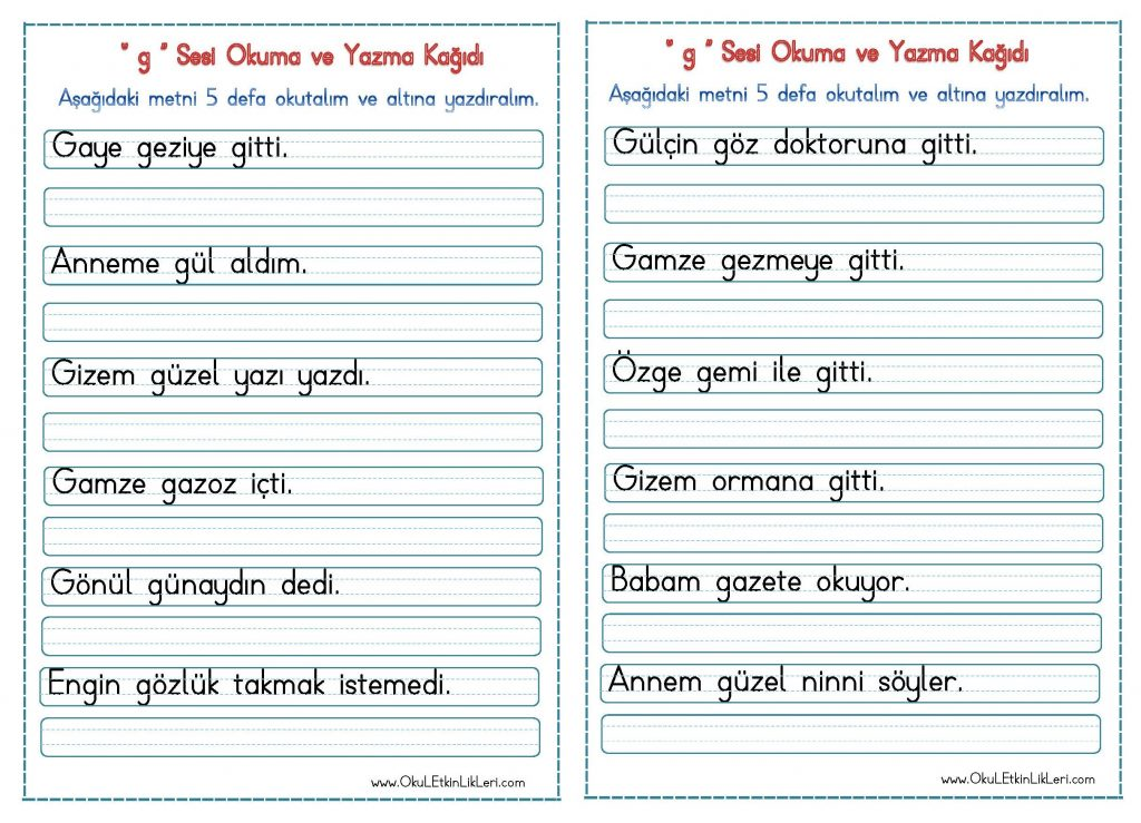 G Sesi Okuma Ve Yazma Kagidi Okul Etkinlikleri Egitime Yeni