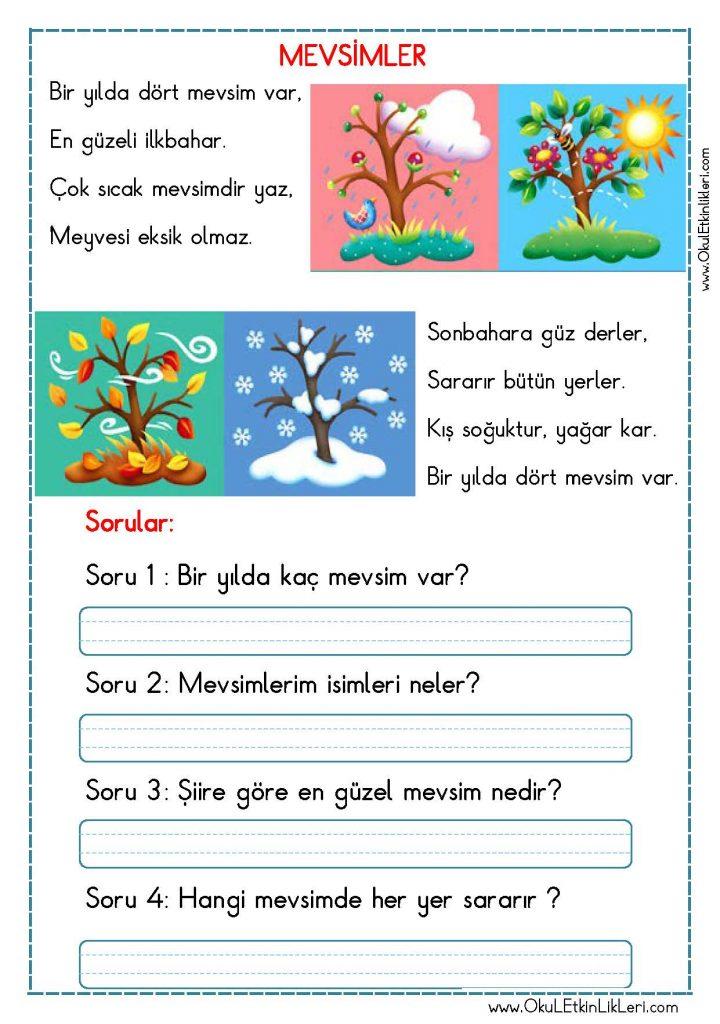 Okuma Anlama Metni Mevsimler Okul Etkinlikleri Egitime Yeni